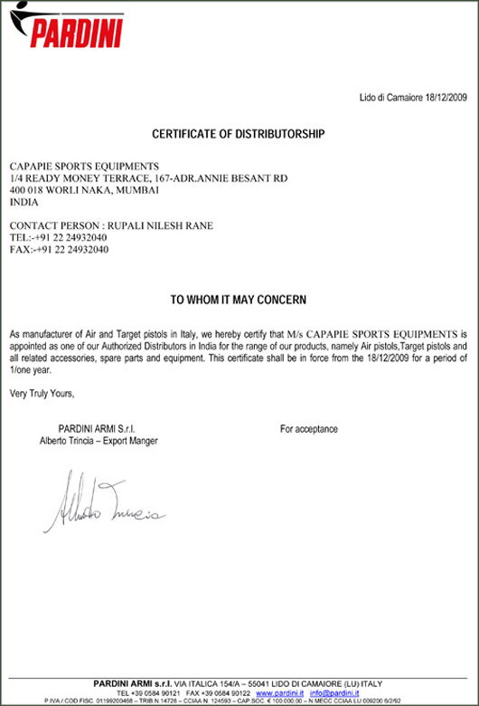 Capapie Sports Dealer Certification